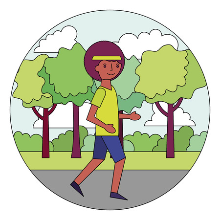 young man training sport in the park vector illustration