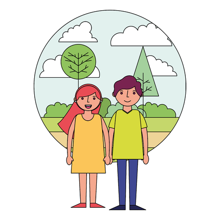 couple holding hands in the park vector illustration