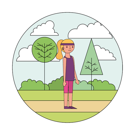 woman cartoon practicing exercise in the park vector illustration  イラスト・ベクター素材