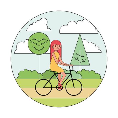 woman cartoon riding bike in the park vector illustration Stock Illustratie