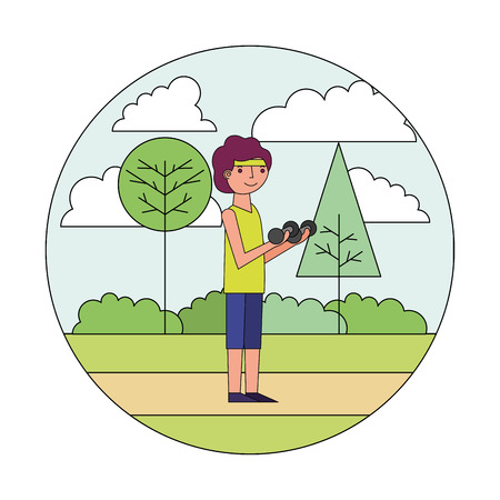 young man with dumbbell sport in the park vector illustration