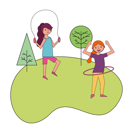 two woman in the park practicing exercise activity vector illustration Stock Illustratie