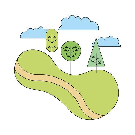 green landscape road tree forest nature cartoon vector illustration Ilustrace