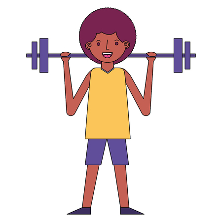 young man fitness activity lifting barbell vector illustration Ilustração