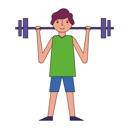 young man fitness activity lifting barbell vector illustration Illustration