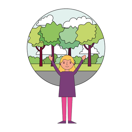 woman happy celebrating with park background vector illustration