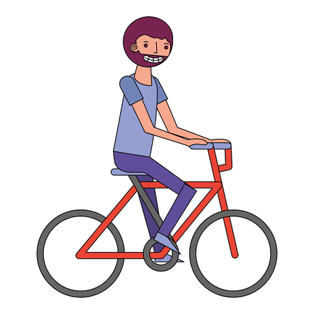 beard man riding in the bike sport vector illustration