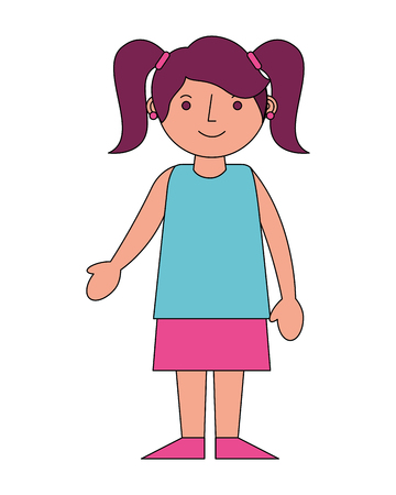 cute young girl character happy vector illustration Illustration