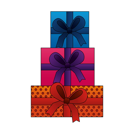 beautiful stacked gift boxes birthday vector illustration 向量圖像