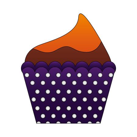 decorative birthday cupcake sweet food vector illustration