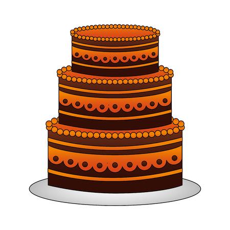 sweet birthday cake snack celebration vector illustration Ilustração