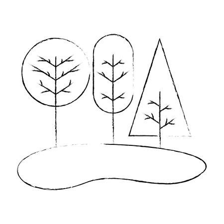 landscape with trees plants icon vector illustration design Illustration