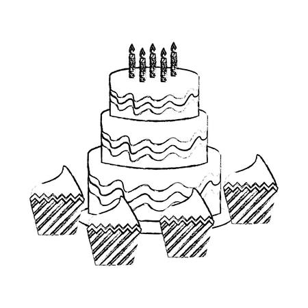 sweet cake with candles and cupcakes isolated icon vector illustration design