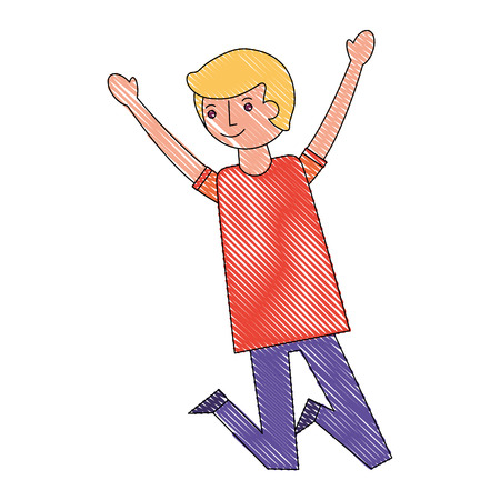 man character raised arms celebrating vector illustration drawing