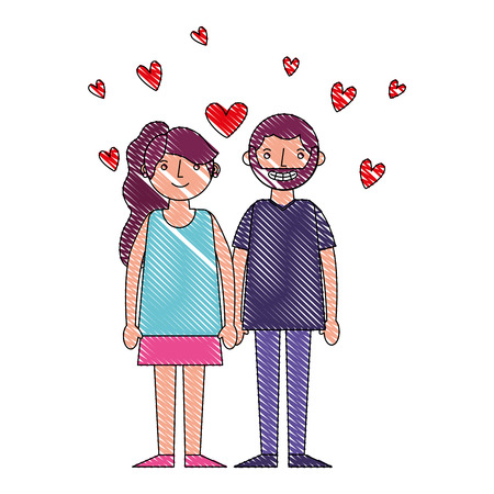 couple romantic holding hands and hearts love vector illustration drawing