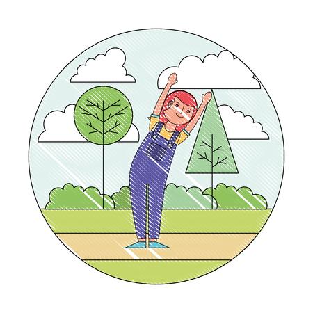 woman cartoon practicing exercise in the park vector illustration drawing Ilustración de vector