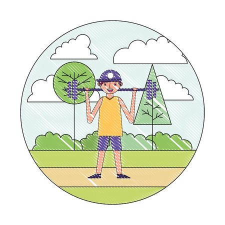 young man training sport in the park vector illustration drawing 向量圖像