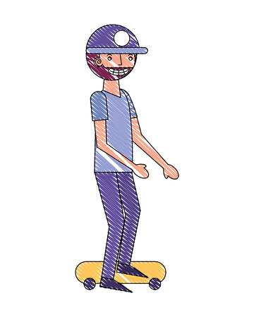 beard man practicing skateboarding sport vector illustration drawing