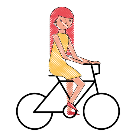 young woman riding bike recreation vector illustration drawing Illustration