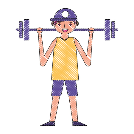 young man lifting barbell training sport vector illustration drawing