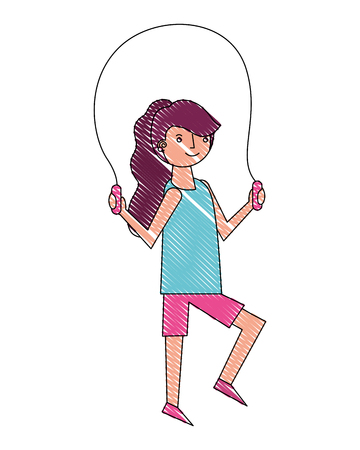 young woman jump rope activity vector illustration drawing Ilustração