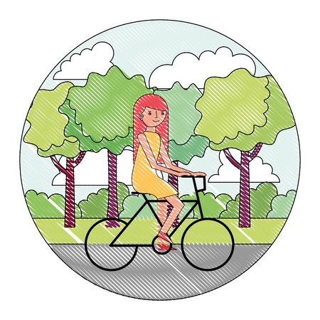 woman cartoon practicing exercise in the park vector illustration drawing