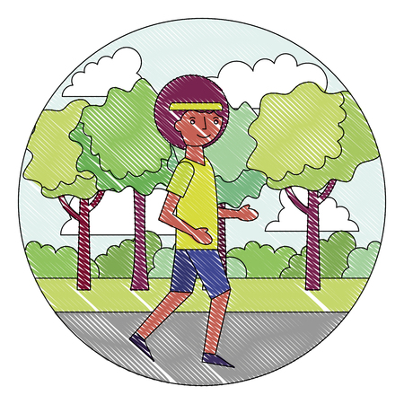 young man training sport in the park vector illustration drawing Иллюстрация