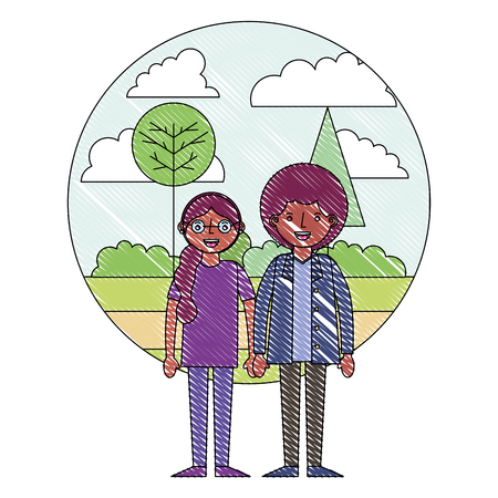 couple holding hands in the park vector illustration drawing