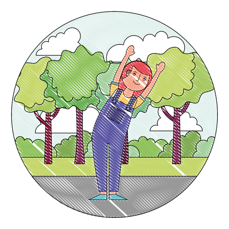 woman cartoon raised arms character in the park vector illustration drawing