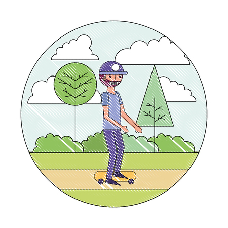 beard man practicing skateboarding in the park vector illustration drawing Ilustrace