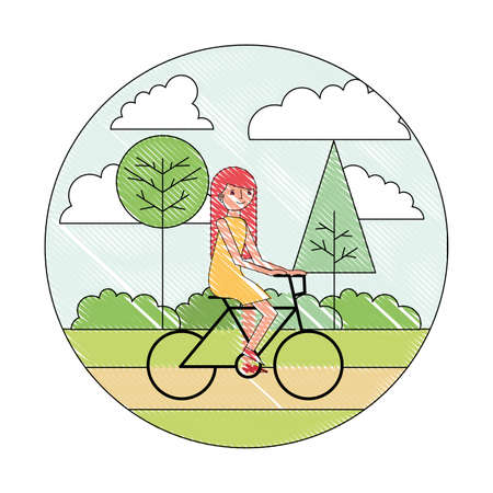 woman cartoon riding bike in the park vector illustration drawing