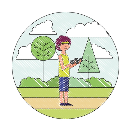 young man with dumbbell sport in the park vector illustration drawing