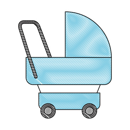 baby stroller carriage accessory icon vector illustration drawing