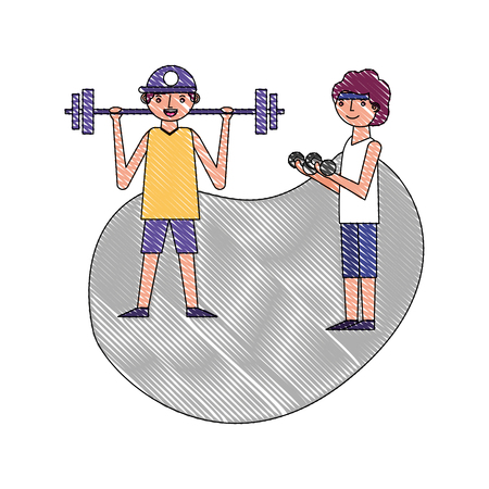 two man cartoon exercise with dumbbell and barbell vector illustration drawing Illustration
