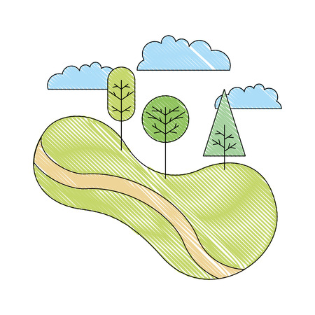 green landscape road tree forest nature cartoon vector illustration drawing
