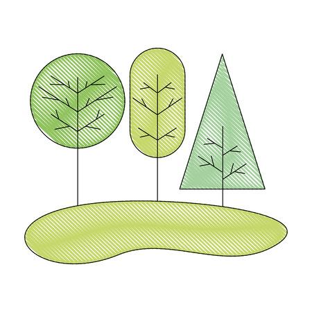trees natural forest botanical image vector illustration drawing