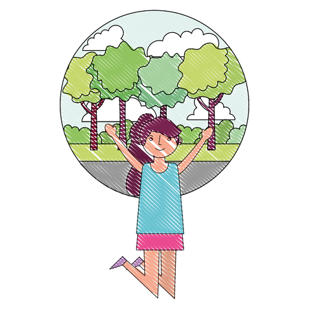 woman happy celebrating with park background vector illustration drawing Standard-Bild - 114998263