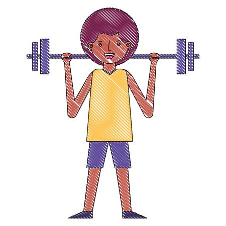 joven, actividad física, barra de elevación, vector, ilustración dibujo Ilustración de vector