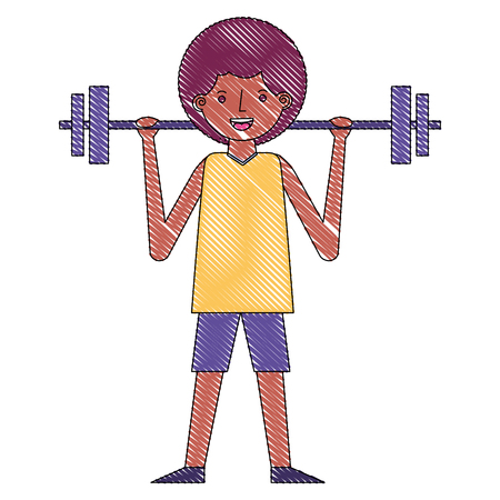 young man fitness activity lifting barbell vector illustration drawing