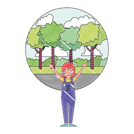 woman happy celebrating with park background vector illustration drawing