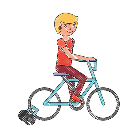 kid riding in the bicycle recreation activity vector illustration drawing Imagens - 114998274