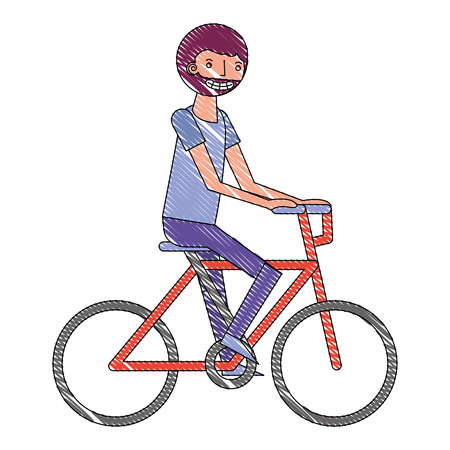 beard man riding in the bike sport vector illustration drawing Illustration