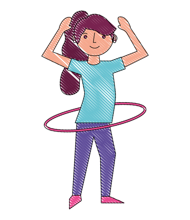 woman cartoon practicing with hula hoop vector illustration drawing Illustration