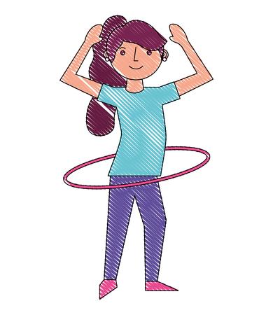woman cartoon practicing with hula hoop vector illustration drawing Illusztráció