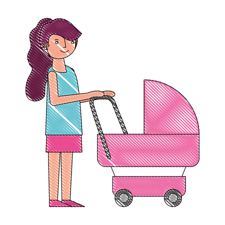 cute mother with baby stroller vector illustration drawing