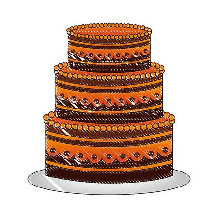sweet birthday cake snack celebration vector illustration drawing Ilustração