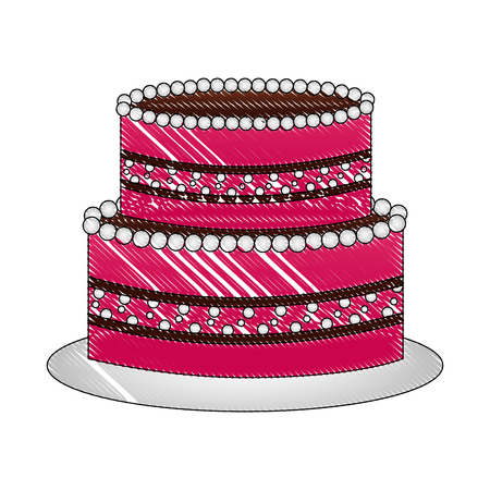 sweet birthday cake snack celebration vector illustration drawing Illustration