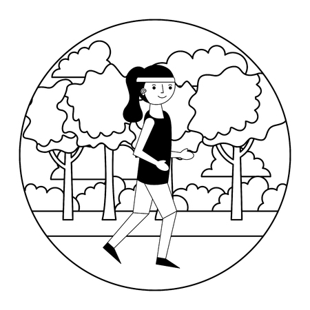 woman athlete running with landscape vector illustration design