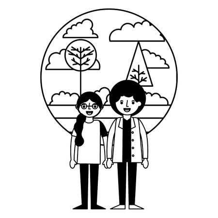 young couple together with landscape icon vector illustration design Illustration
