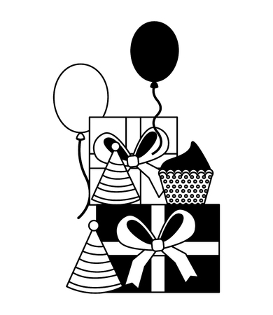 gifts boxes present with cupcake and balloons helium icon vector illustration design